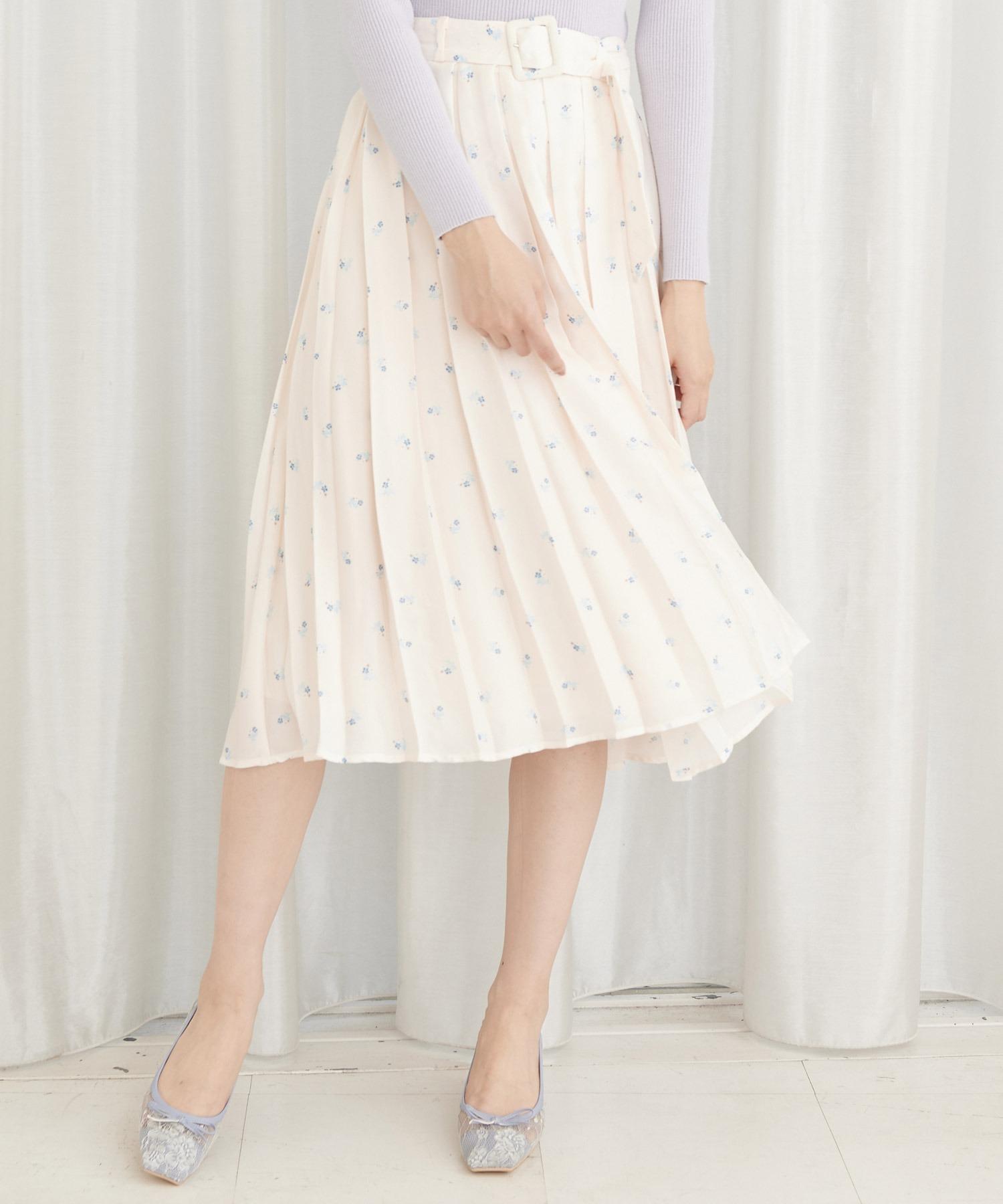 ミニフラワープリーツスカート