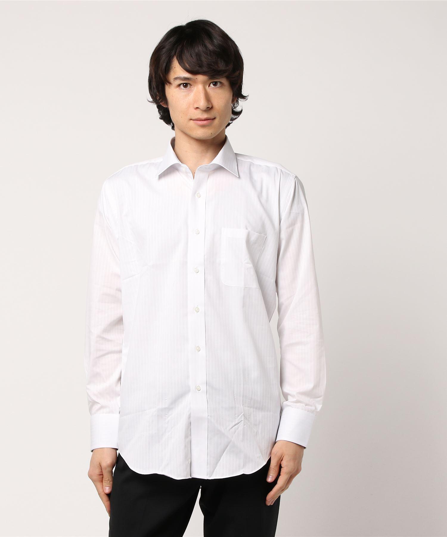 形態安定 白ドビーセミワイド 長袖シャツ