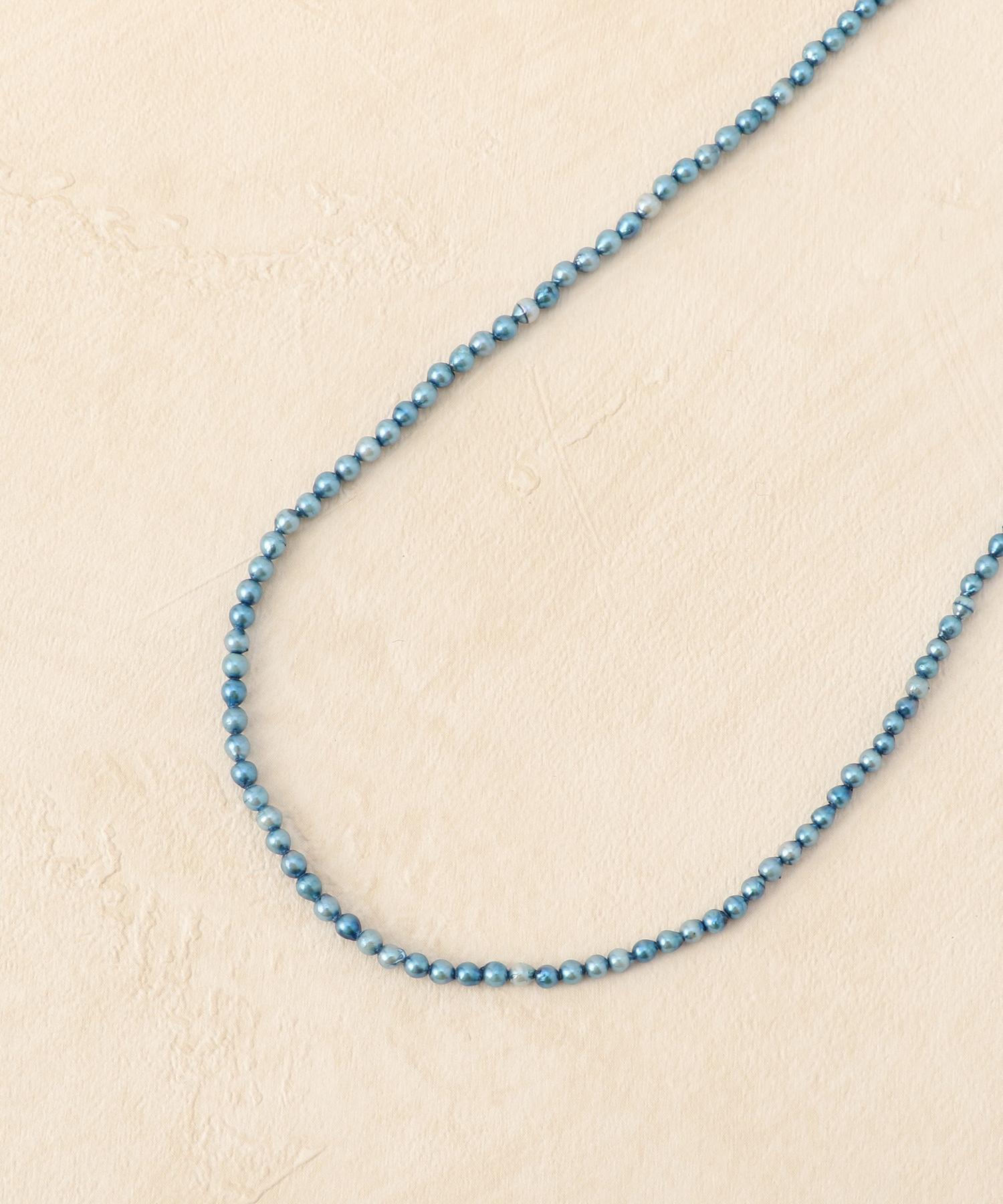 K10藍染めパールロングネックレス