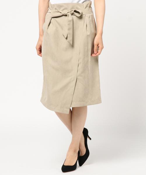 スエード風ラップスカート