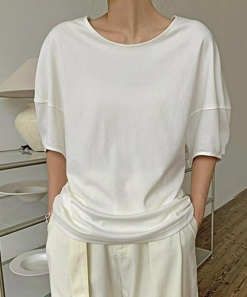 【chuclla】【2021/SS】Round neck puff sleeve T-shirt  chw1552
