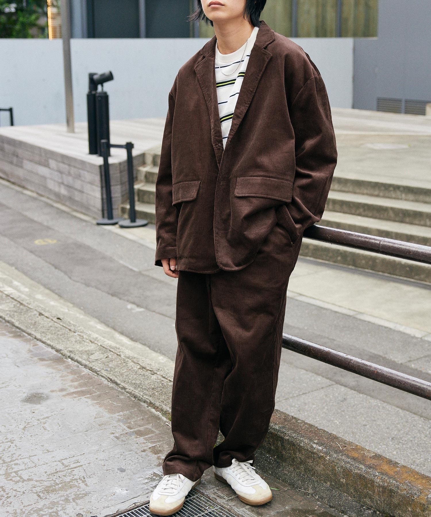 【セットアップ】ビッグシルエット オーバーサイズ コーデュロイ シングルジャケット & タックテーパードパンツ
