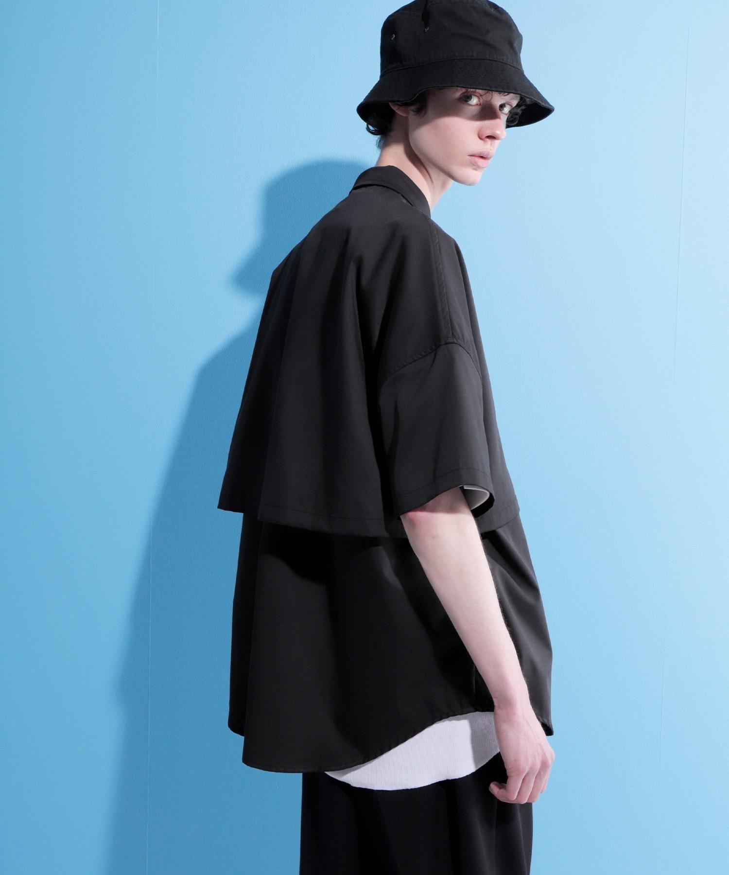 ヨークトレンチレイヤードワイドシャツ 1/2 sleeve(EMMA CLOTHES)
