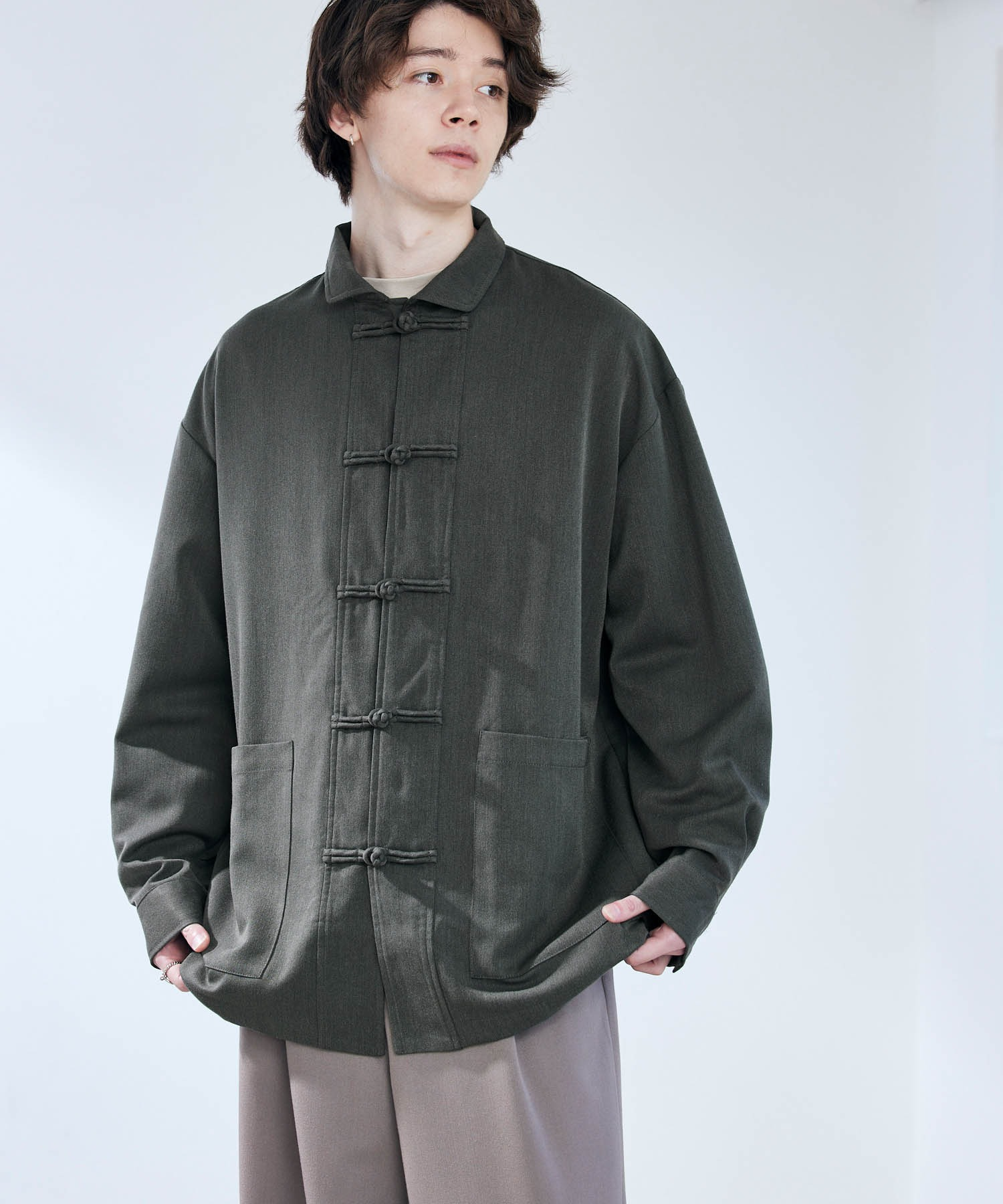 TRストレッチ ワイドスリーブ オーバーサイズ チャイナシャツ -2021SPRING-