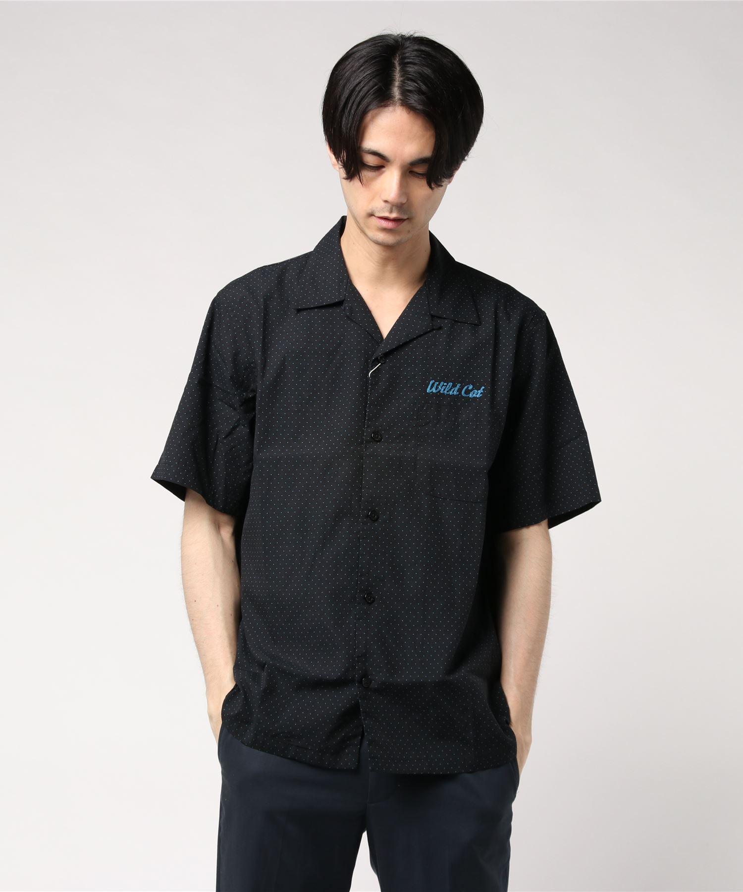WILD CAT刺繍 半袖ボーリングシャツ