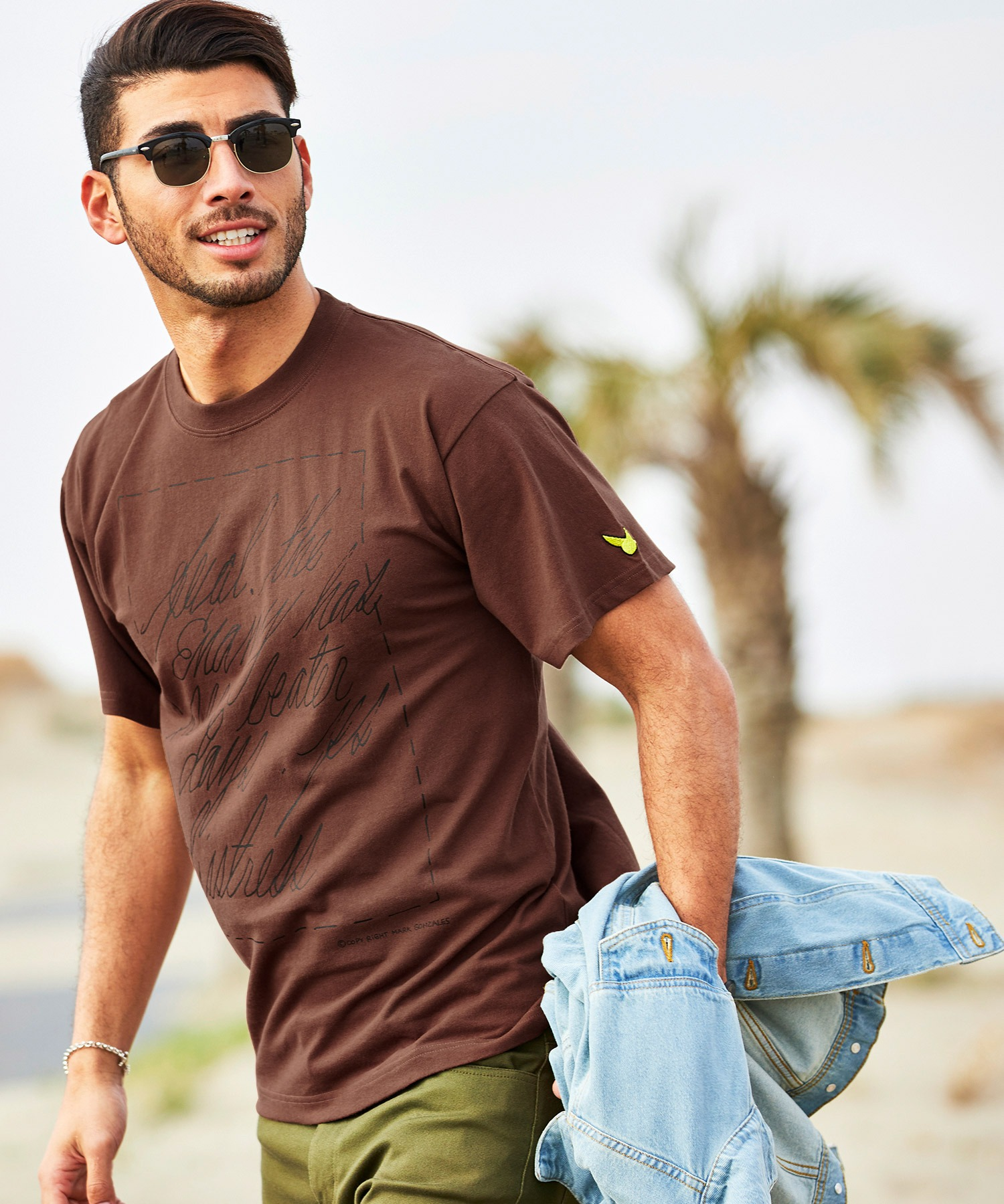 Mark Gonzales/マークゴンザレス 【BARK MANHATTAN別注】 英字プリントオーバーサイズ半袖Tシャツ