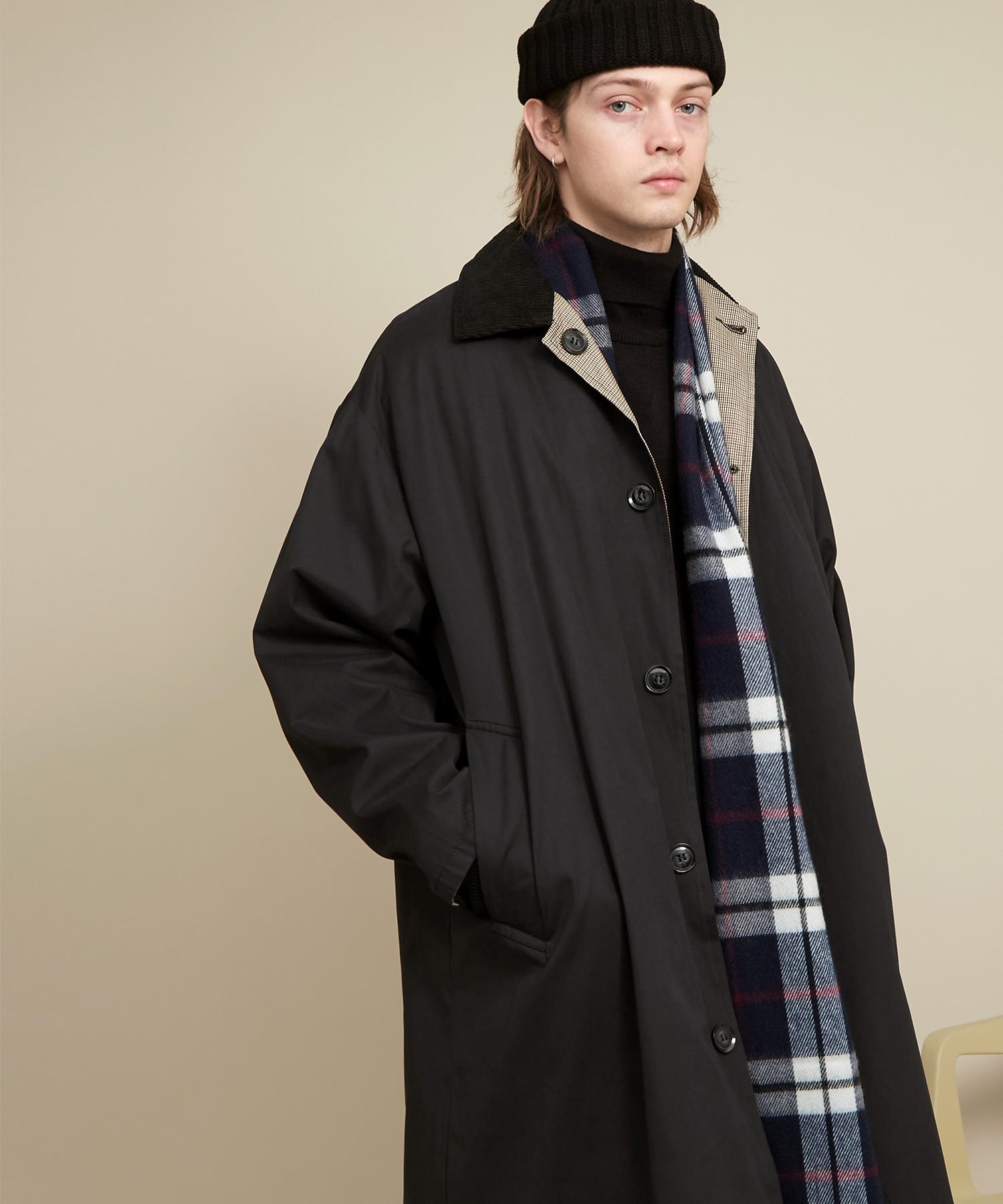 オーバーサイズ クレリックコーデュロイ リバーシブルロングバルカラーコート(ピーチスキン/千鳥格子) EMMA CLOTHES 2020AW