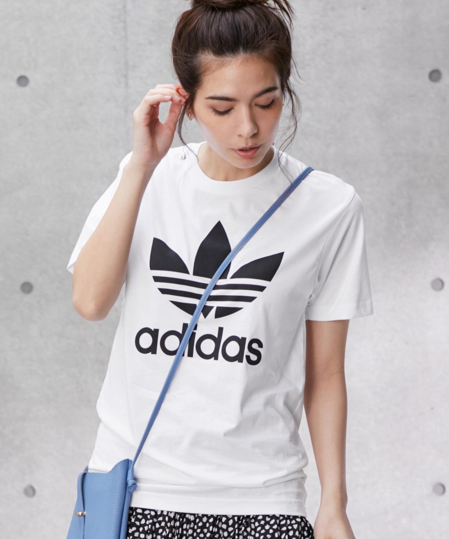adidas/アディダス トレフォイルロゴプリント オーバーサイズ コットン 半袖 Tシャツ