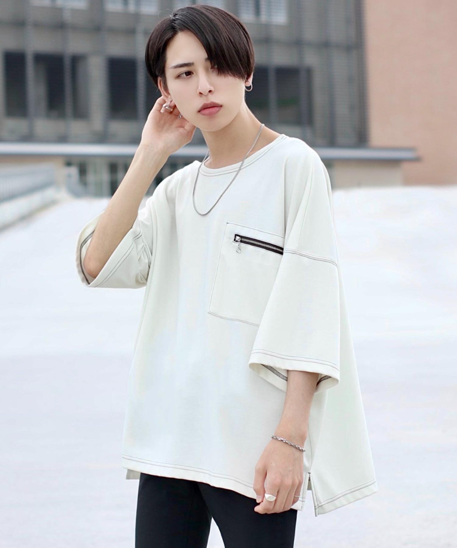 ファッションインフルエンサー ろむし × BASQUE magenta ステッチビックTee 半袖