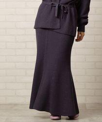 【WEB限定色:ダークグレー】アゼ編みニットフレアスカート(マキシスカート/ロングスカート)