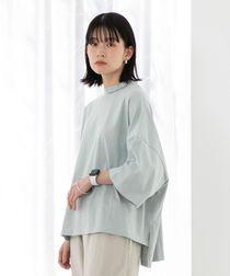 【WEB限定】FEELING MADE ブラッシュドコットン ボトルネック ジャガードロゴ Tシャツ(UVカット・ボクシーシルエット)