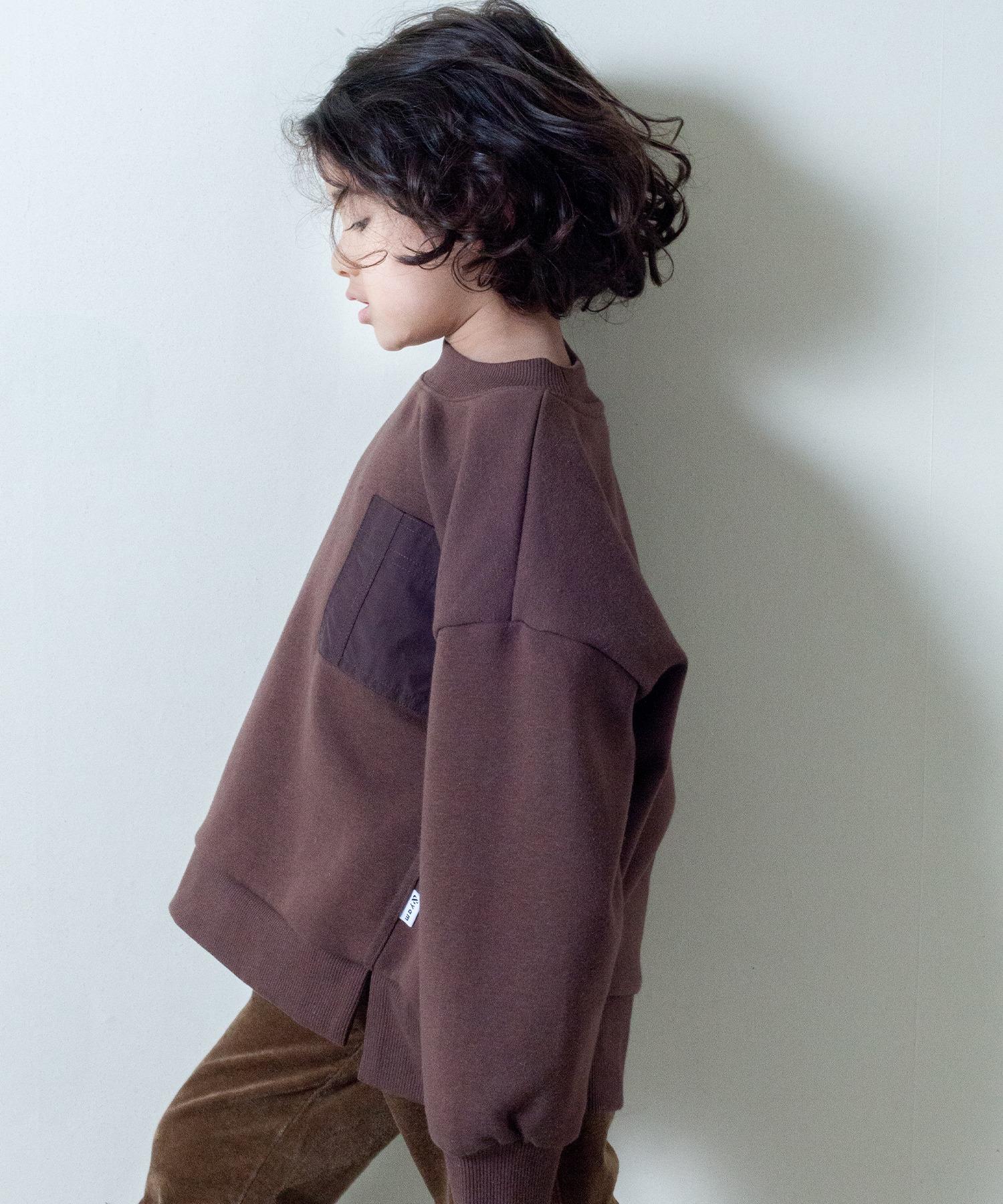 【&yam】異素材ポケット&サイドスリット入りドロップショルダー裏起毛スウェット
