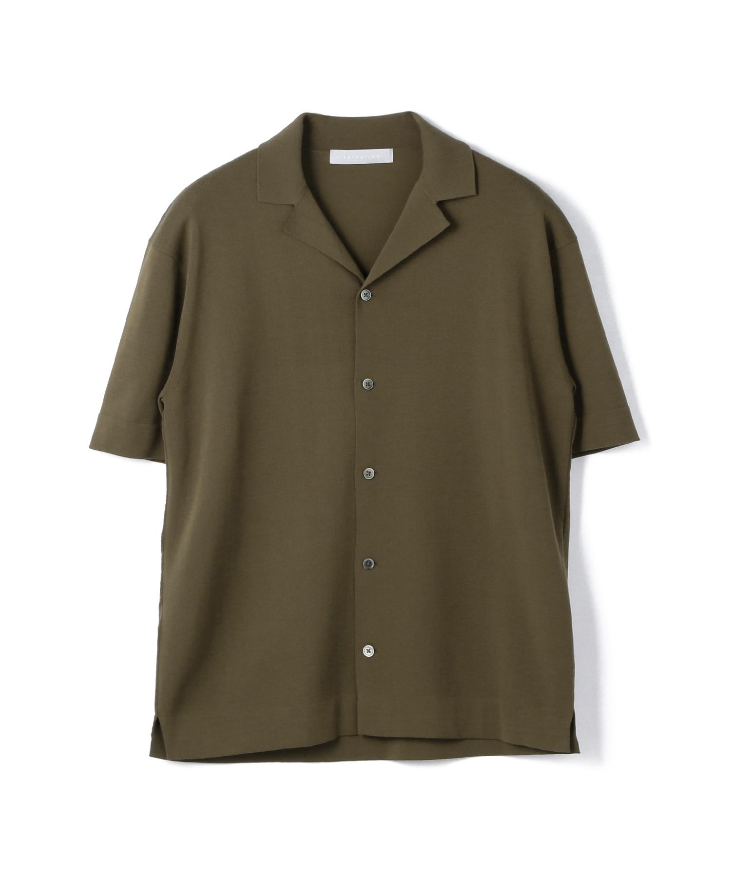 ESTNATION / ウォッシャブル半袖ニットシャツ