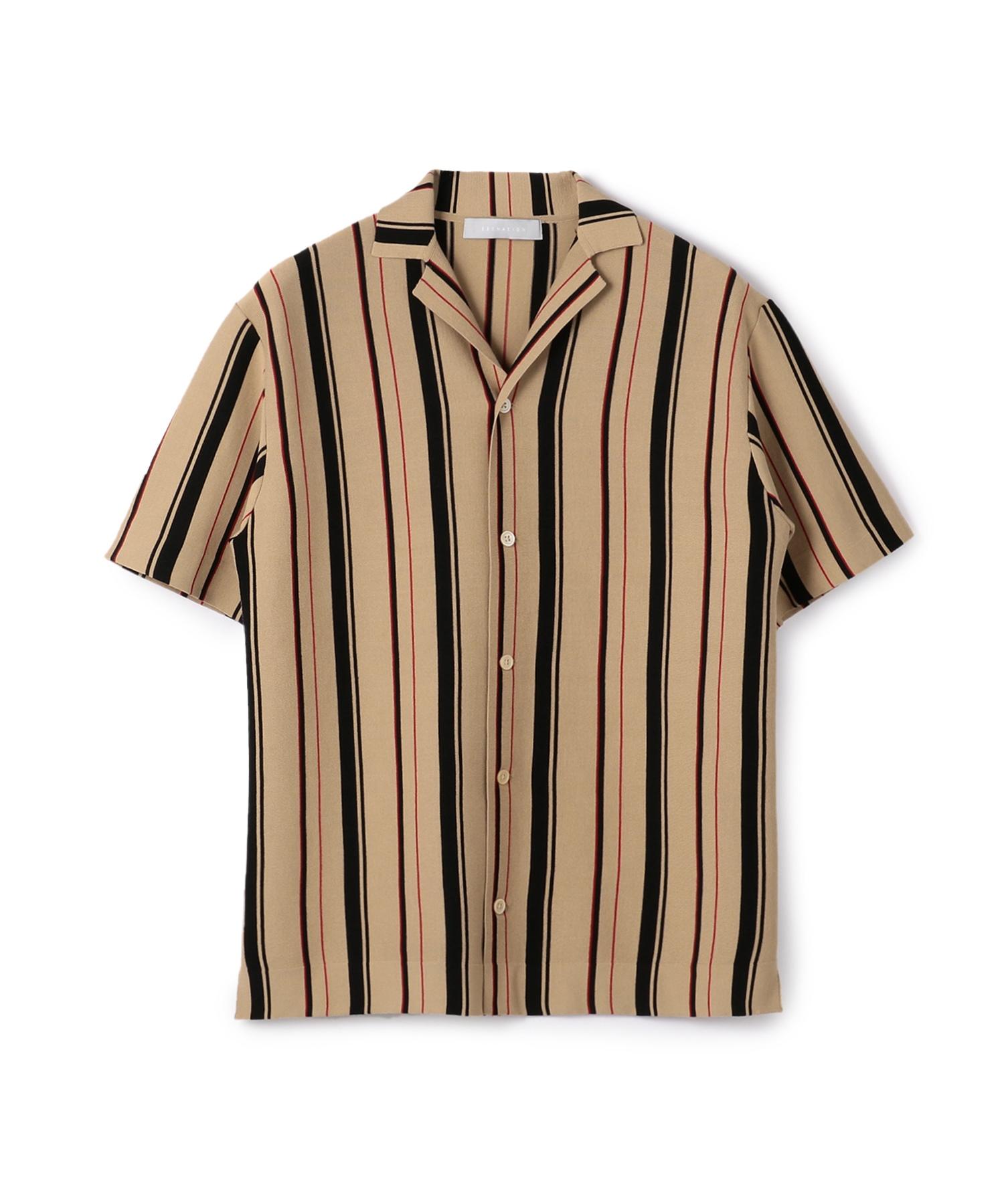 ESTNATION / ストライプ柄ウォッシャブル半袖ニットシャツ