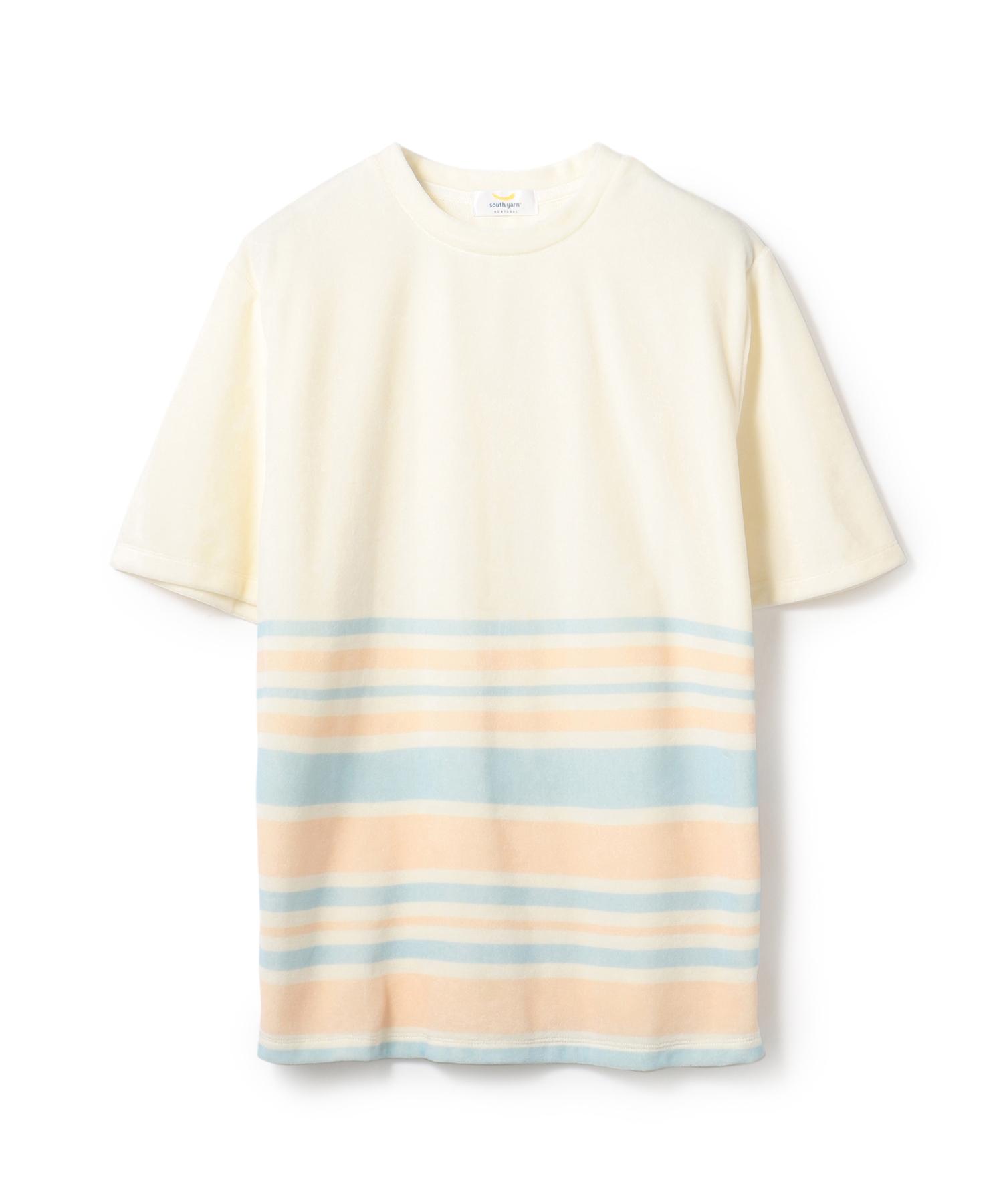 SOUTH YERN / ハーフマルチボーダー パイルTシャツ《ESTNATION EXCLUSIVE》
