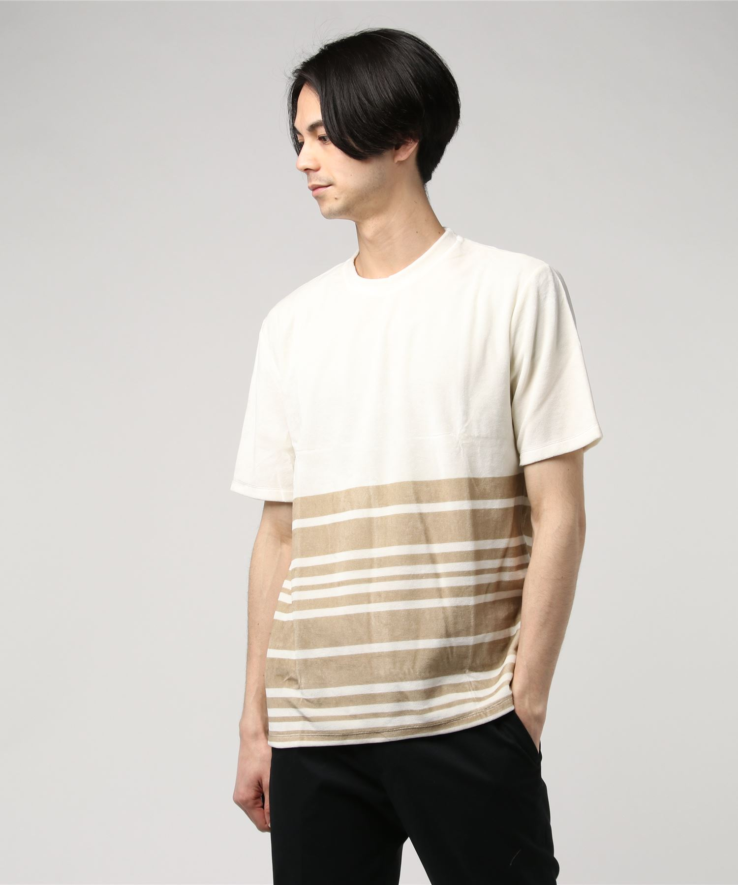 SOUTH YERN / ショートスリーブハーフボーダーTシャツ