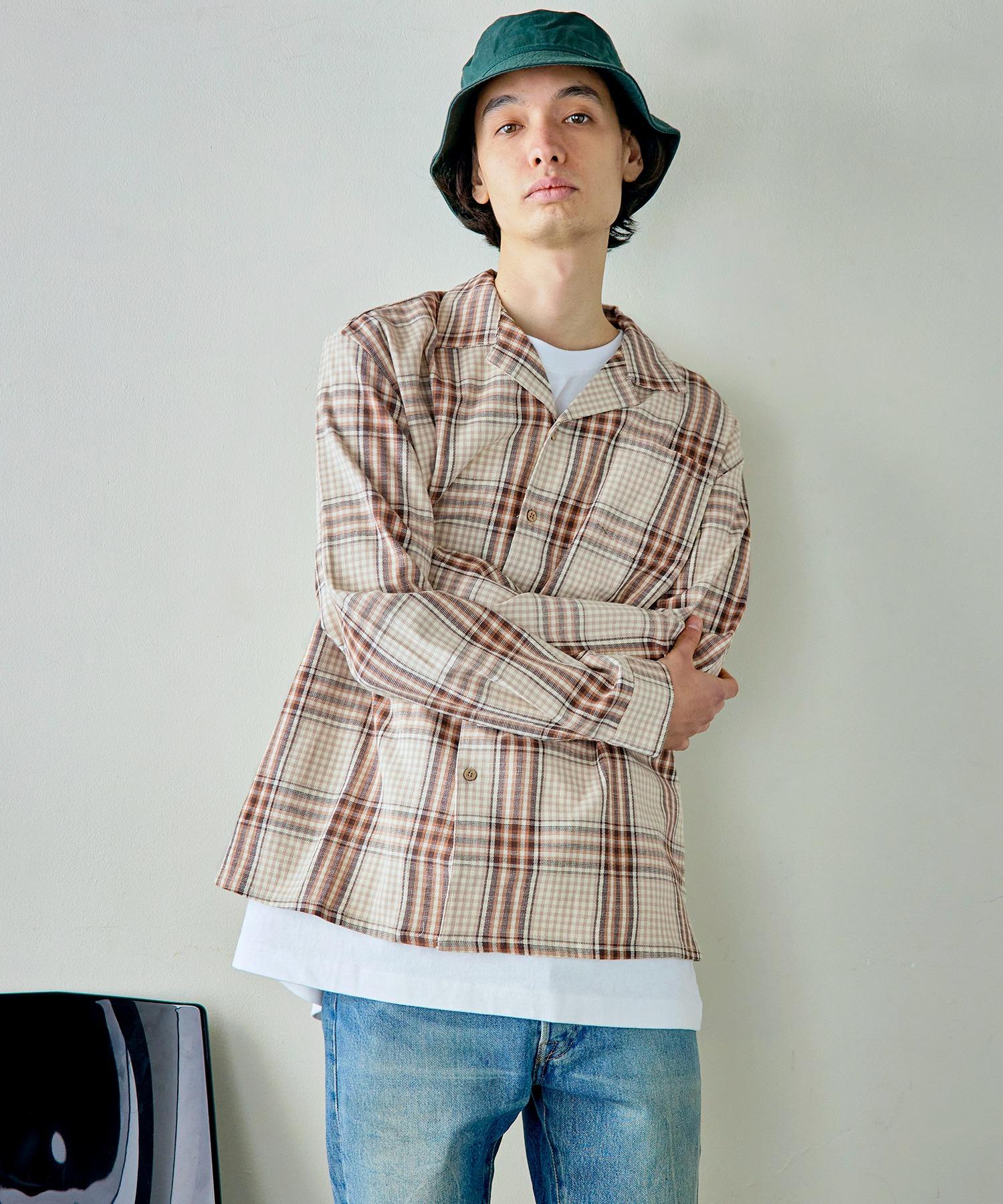 パナマ織り 綿麻ストレッチオープンカラー長袖シャツ