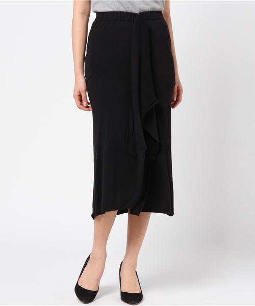 アシメデザインロングリブニットスカート