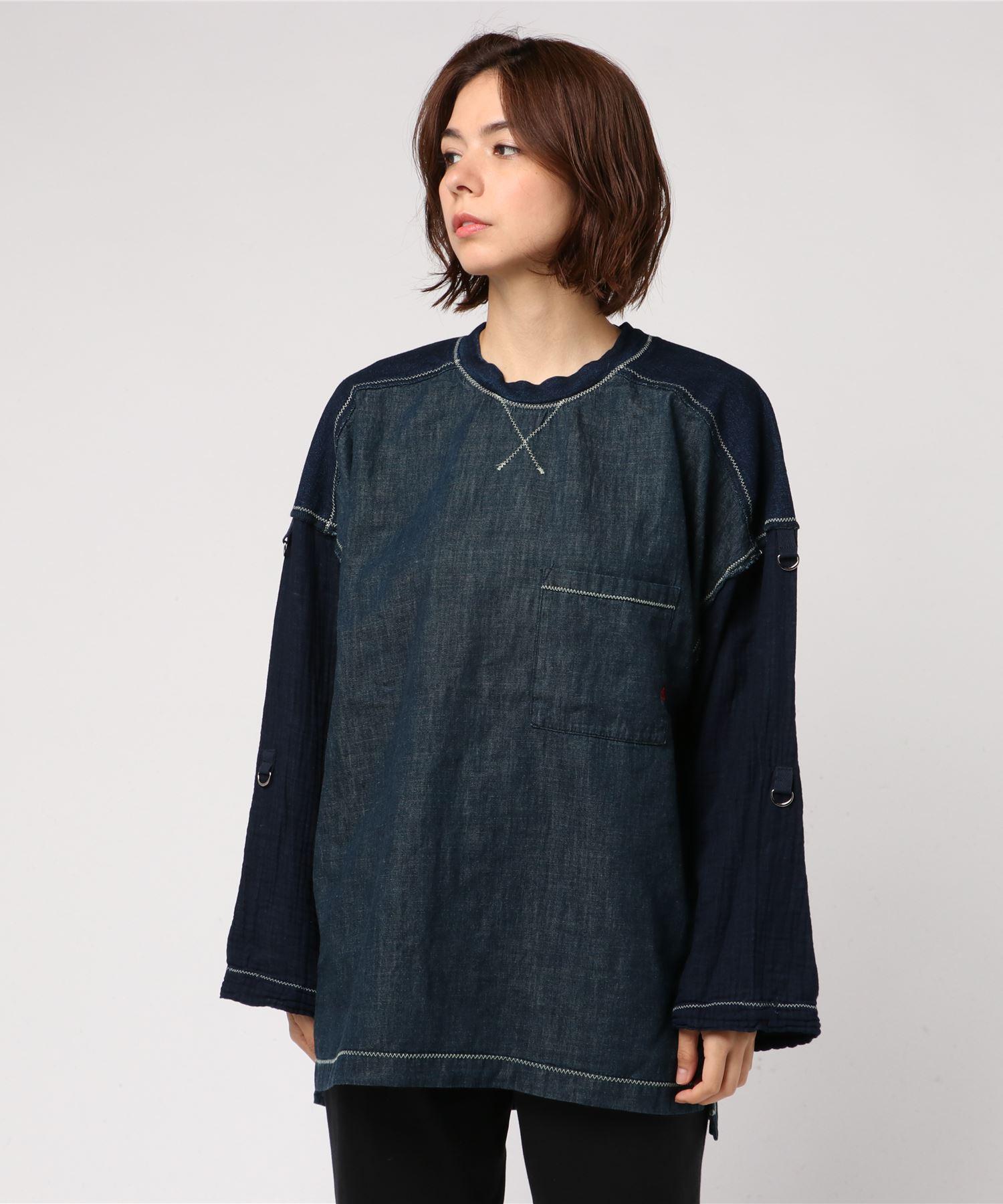 DEVIL刺繍 デニムスクラッチ プルオーバーシャツ