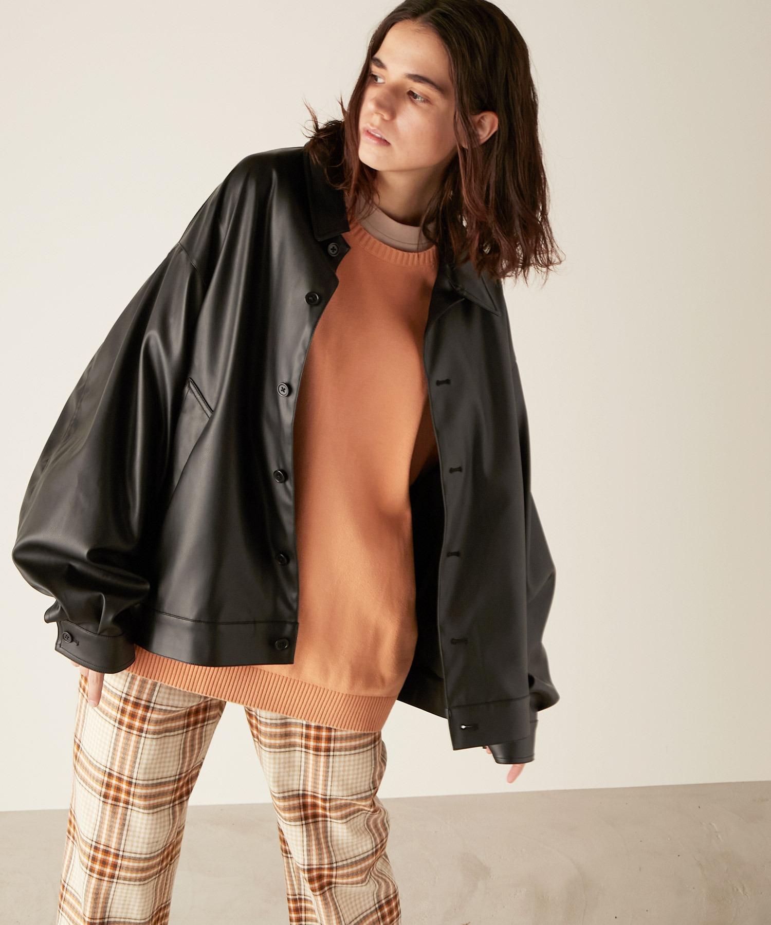 シンセティックレザー ビッグシルエット ルーズスリーブブルゾン EMMA CLOTHES