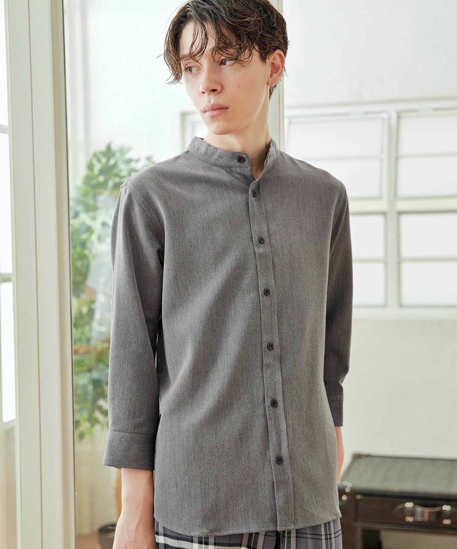 T/R ストレッチ バンドカラーシャツ(3/4 sleeve)