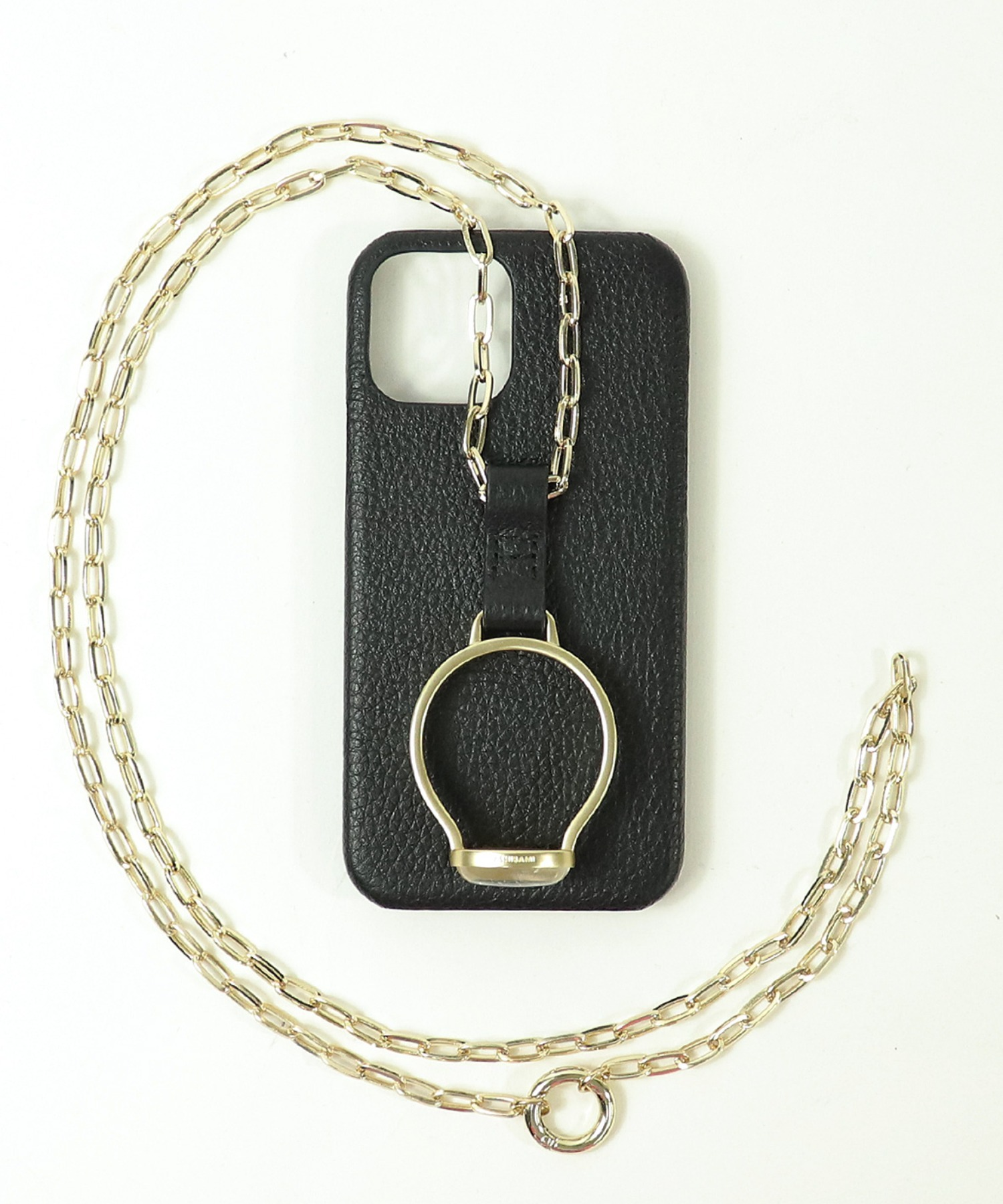 【 Hashibami / ハシバミ 】別注 iphone12/12pro 天然石×チェーン スマホ・携帯カバー リング付きケース