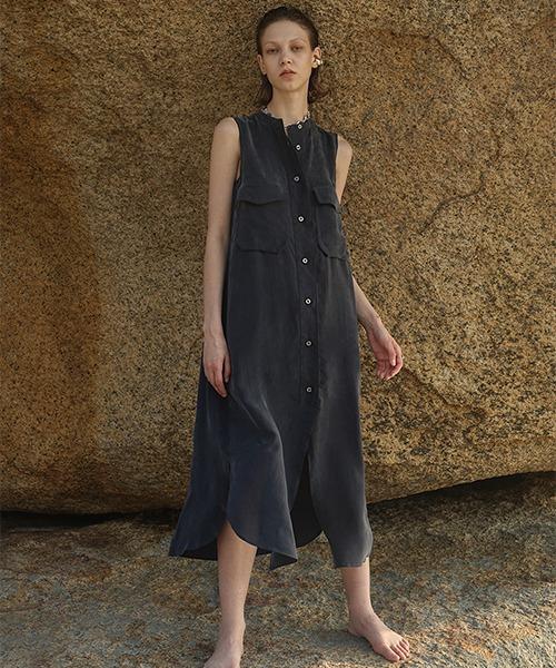 【LeonoraYang】Sleeveless shirt dress chw1511