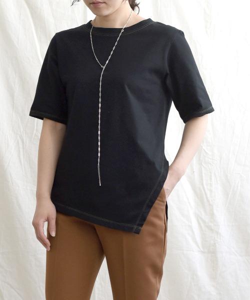 【Made in Japan】 ステッチデザインアシメカットトップス
