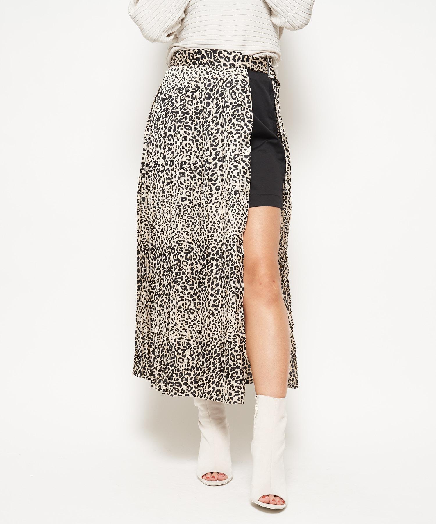 レオパード柄2WAYラップスカート