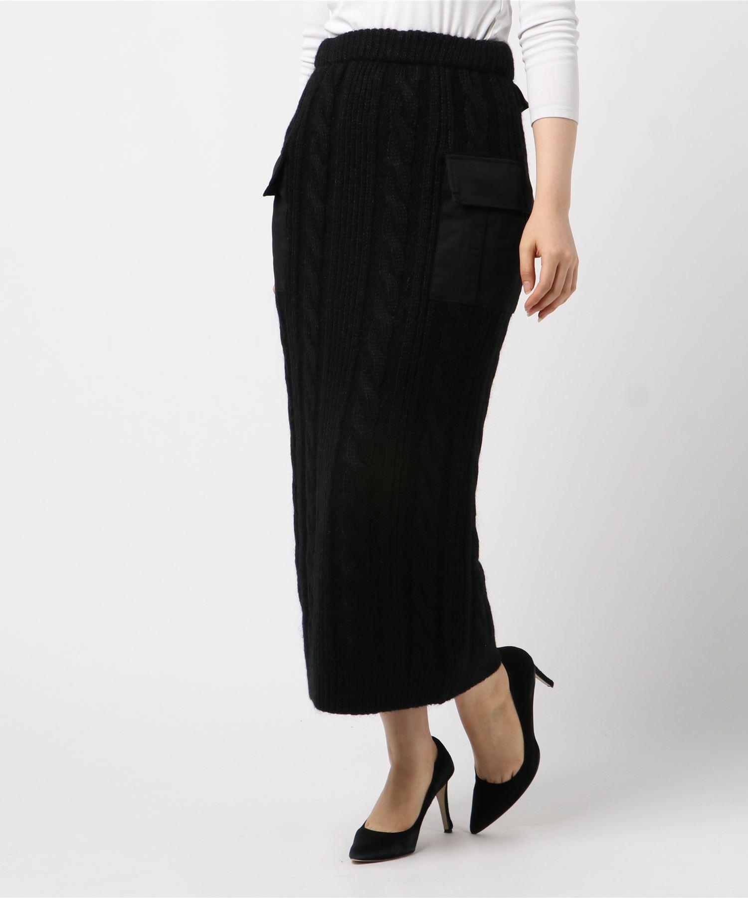 ミリタリーポケット付き ケーブルタイトスカート