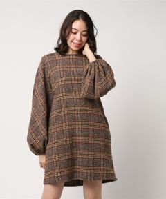 【No.6】Ballon Dress Dusty Italian Plaid Wool