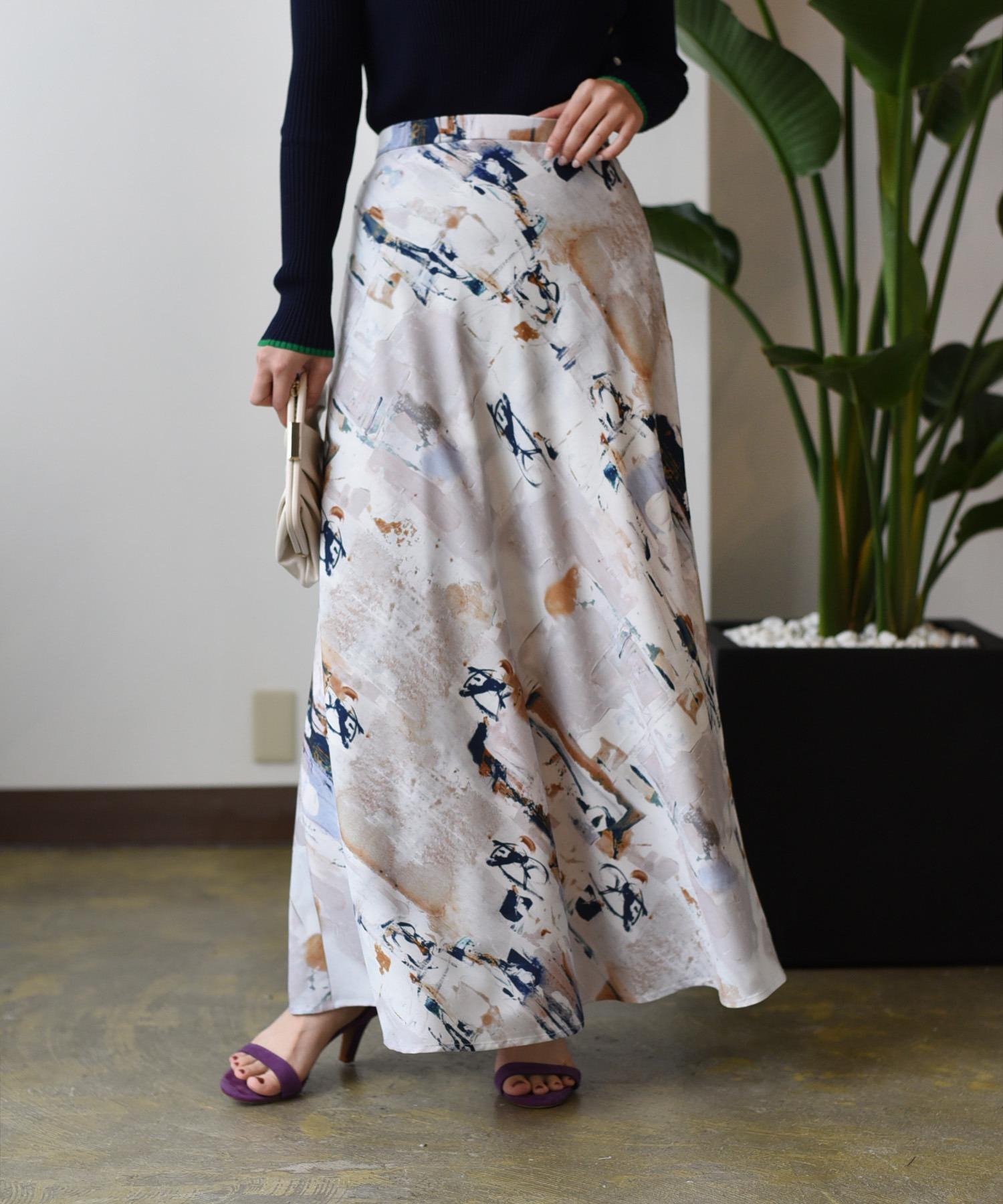 オイルプリント バイヤスマーメイドスカート