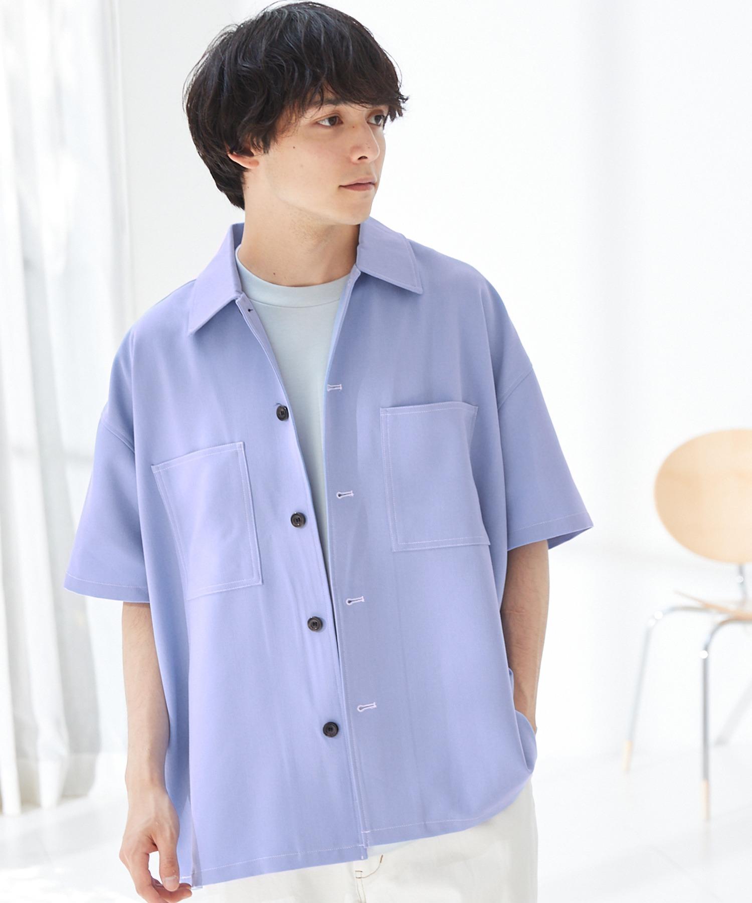 TRストレッチ ビッグステッチ オーバーサイズ レギュラカラーCPOシャツ(1/2 sleeve) -2021SUMMER-