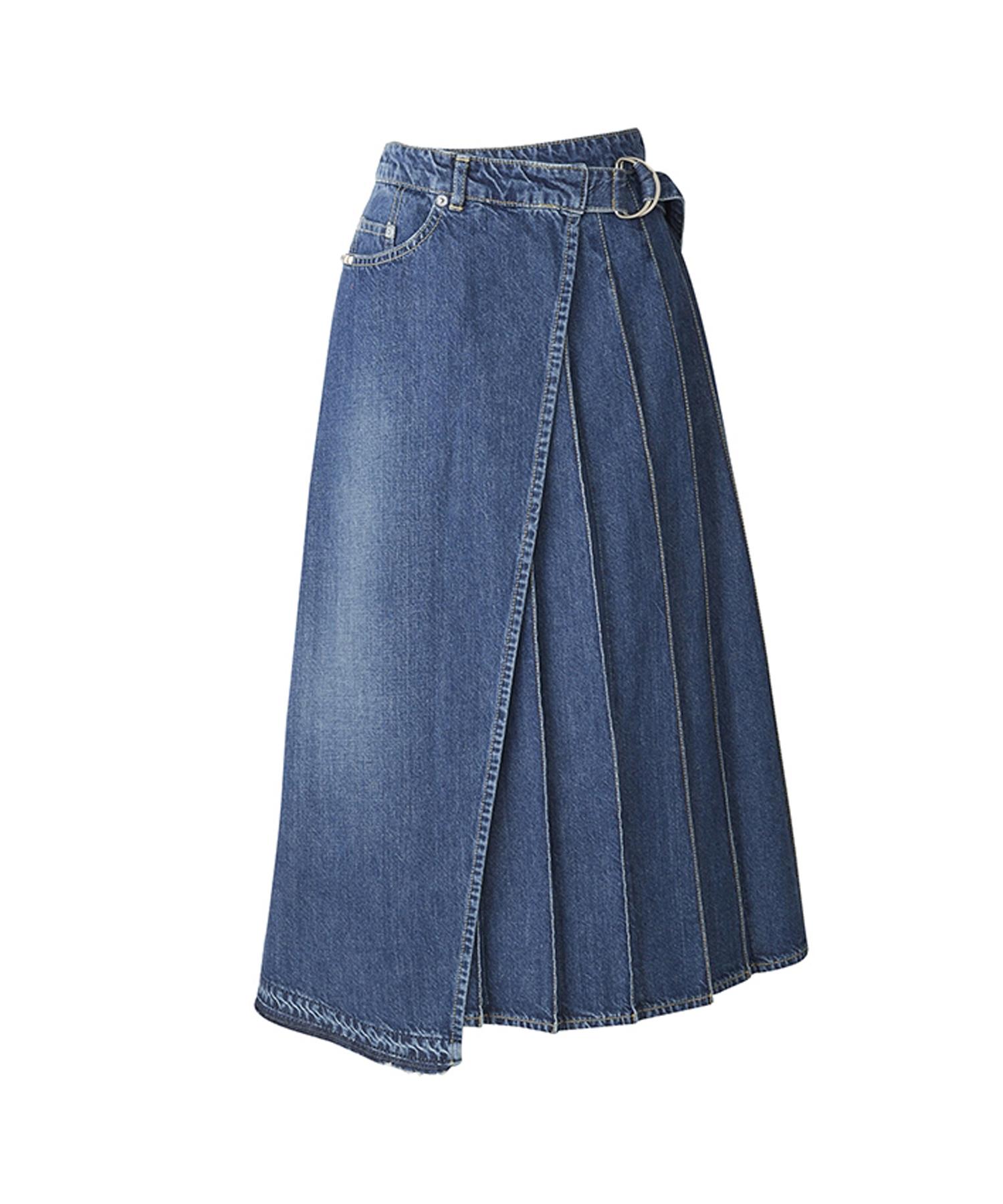 USED加工デニム ラッププリーツロングスカート