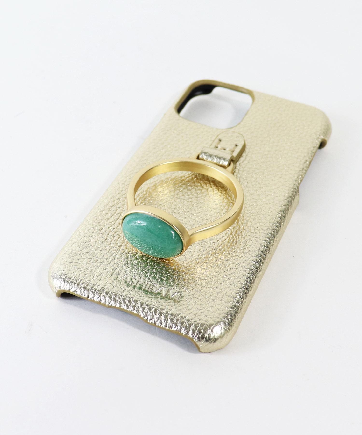 【 Hashibami / ハシバミ 】  iPhone 11/XR スマホ・携帯カバー 天然石リング付きケース