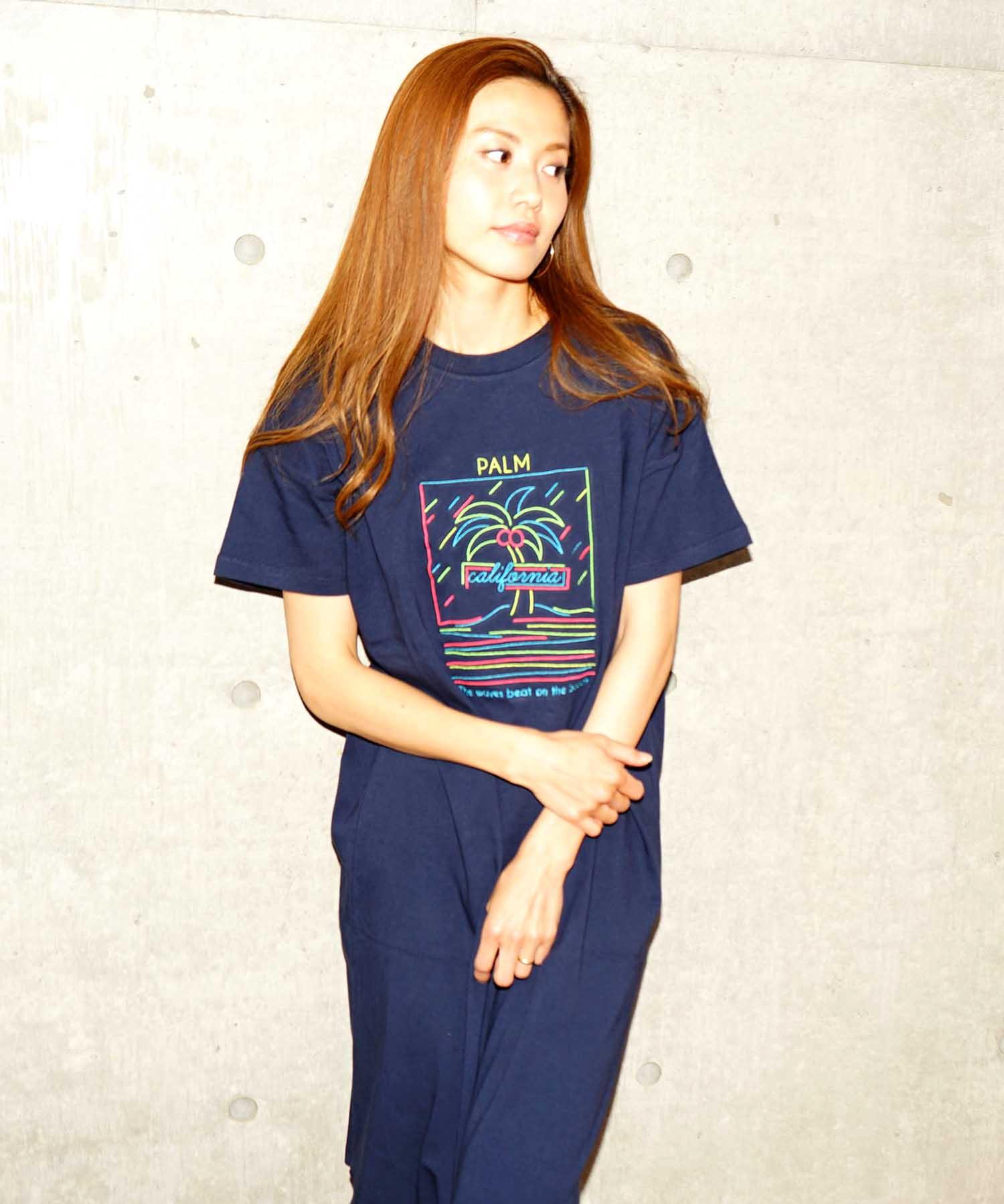 ロゴ刺繍ワンピース/Tシャツ ワンピース