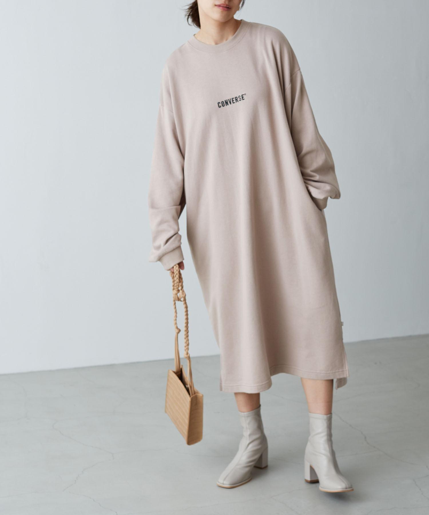 CONVERSE/コンバース Chaco closet 別注 限定 フロント刺繍 バルーンスリーブ ポケット付き サイドスリット スウェットロングワンピース