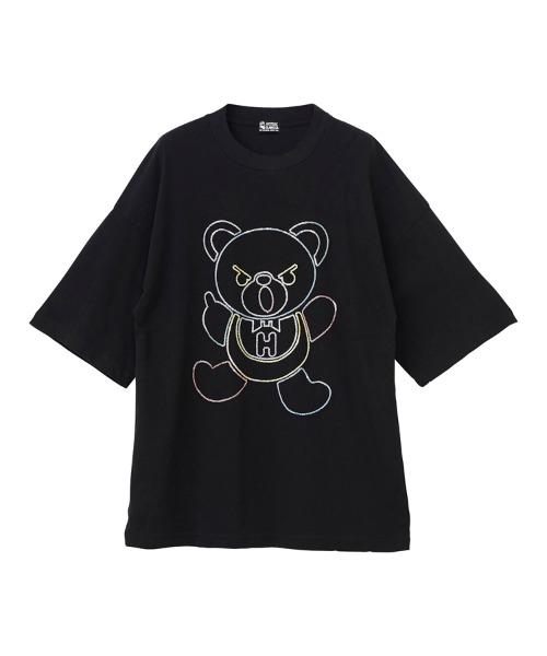 HYS BEAR刺繍 オーバーサイズTシャツ