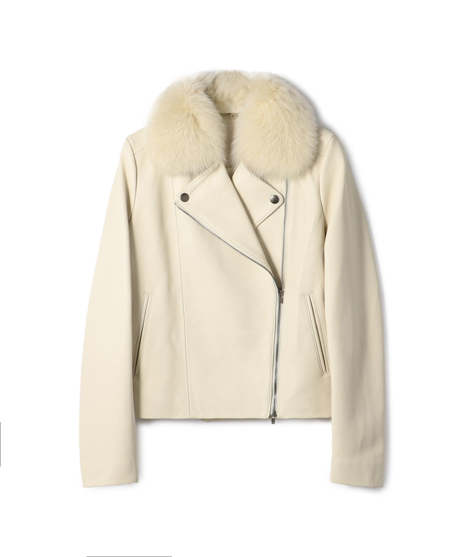 ESTNATION 衿ファー付きレザーライダースジャケット