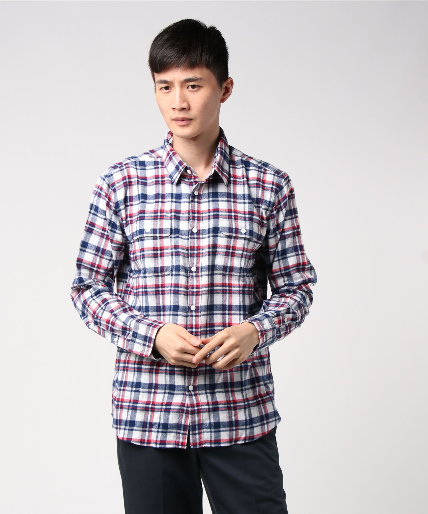 ネルチェックシャツ ユニセックス フラップポケット ワークテイスト