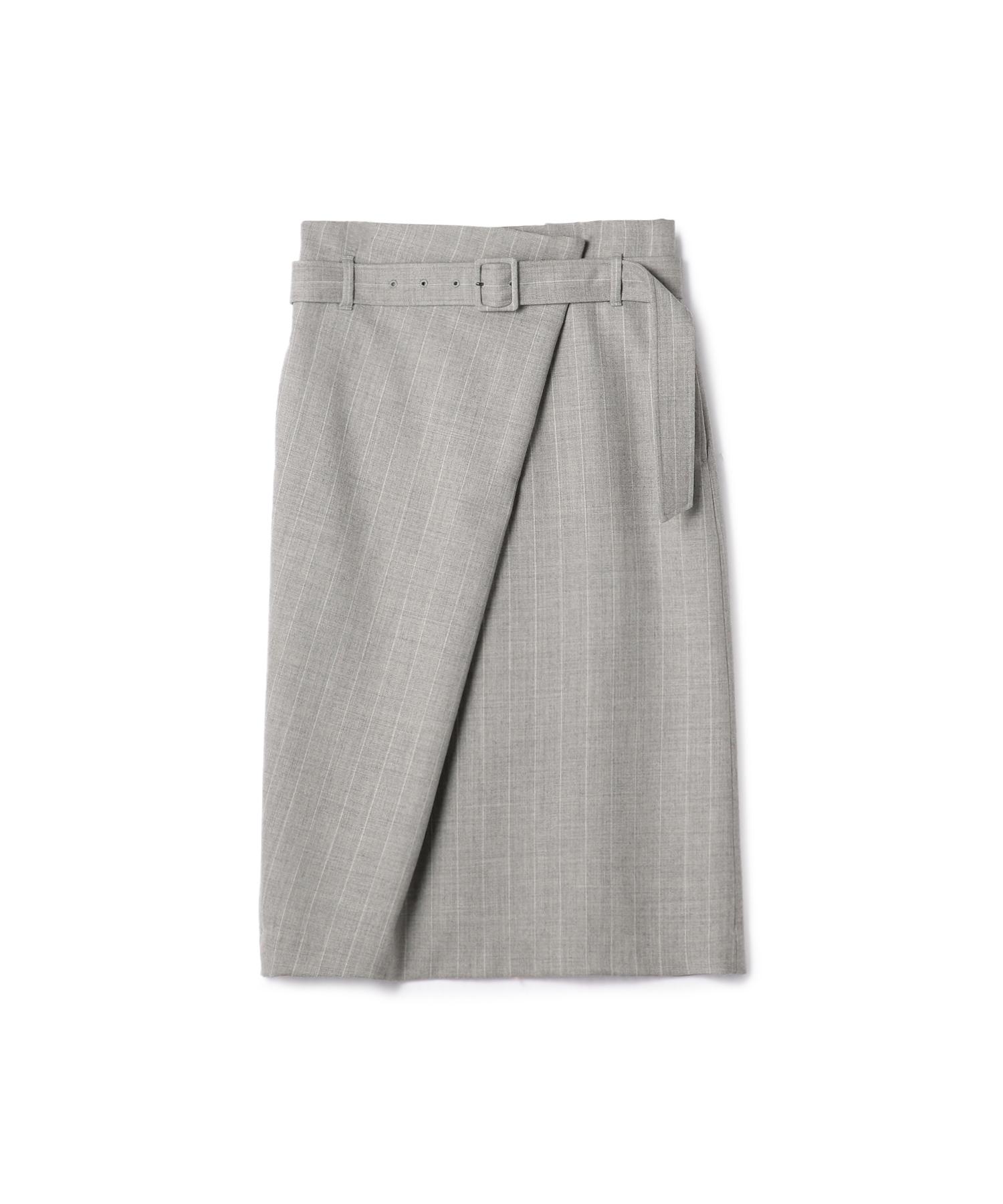 ESTNATION ウールストライプラップスカート