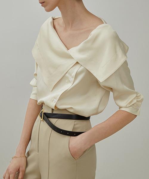 【UNSPOKEN】Big lapel blouse UX20S649chw