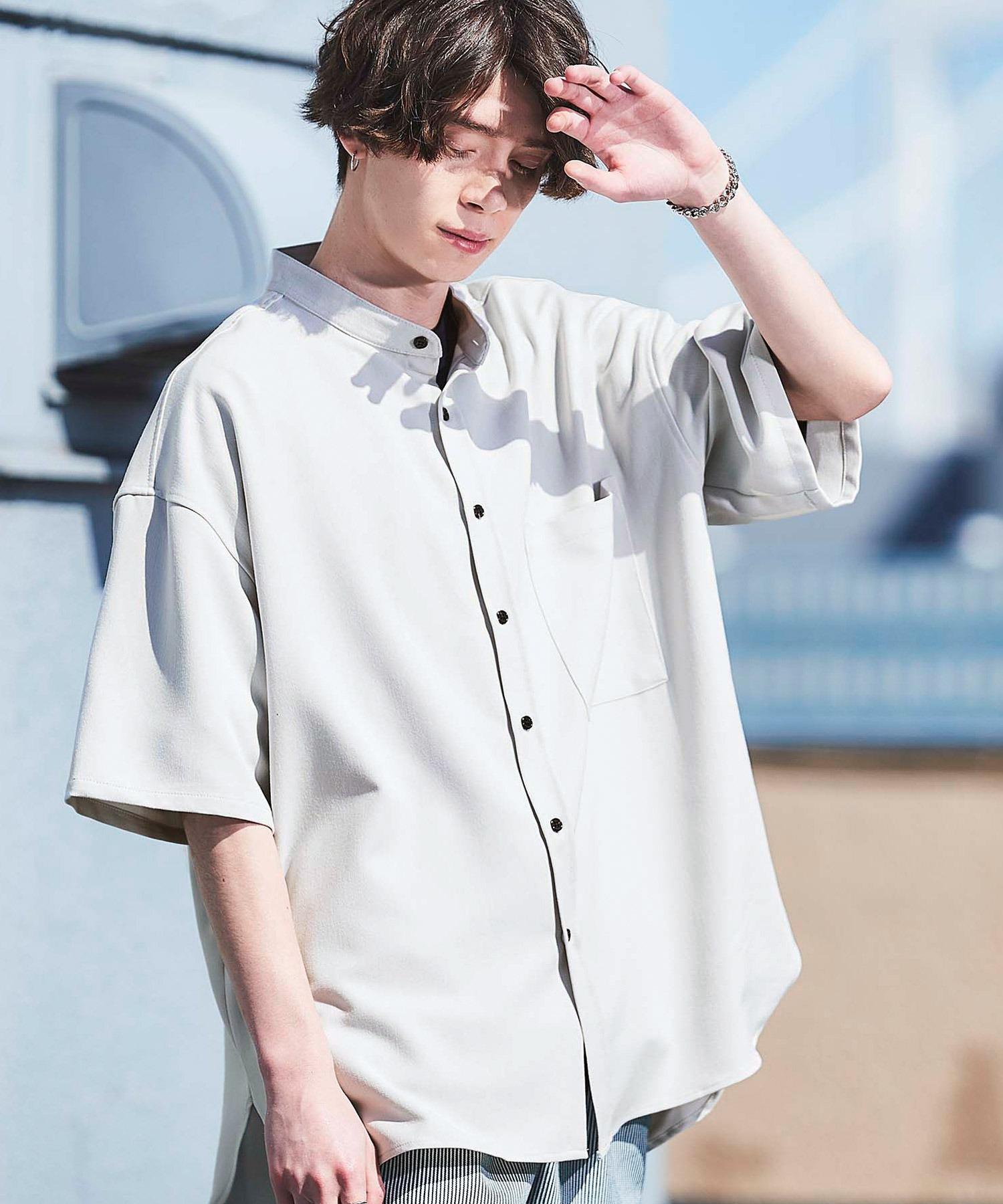 TRストレッチ オーバーボックス ビッグシルエット バンドカラーシャツ(1/2 sleeve)