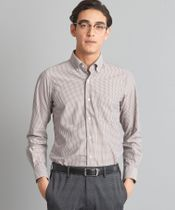 【WORK TRIP OUTFITS】*WTO チェック トリコット ボタンダウン シャツ<スリムフィット>《吸水速乾》