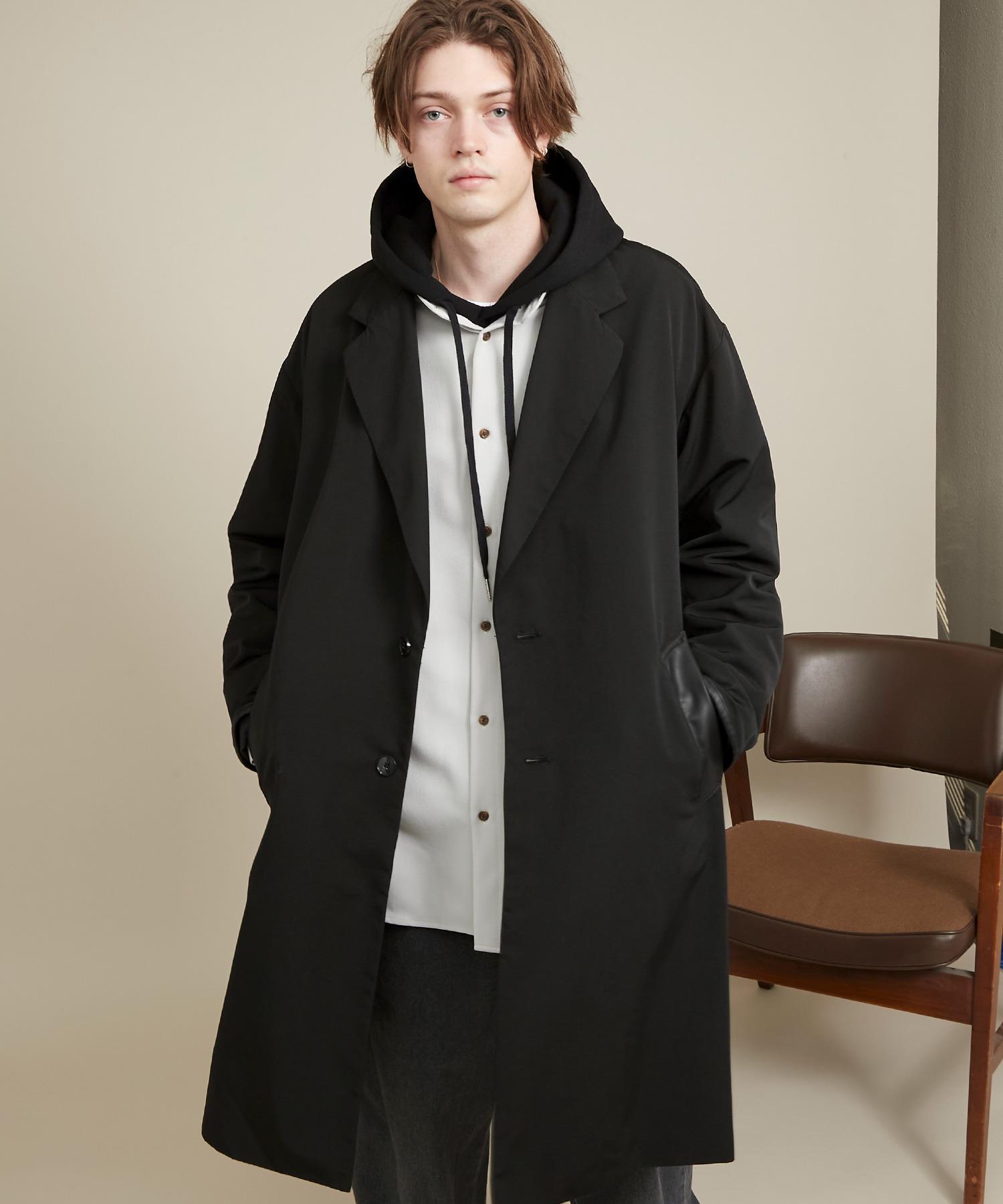 オーバーサイズ スプリングコート/ソフトレザー切替【ファッションインフルエンサーとっしー×EMMA CLOTHES 2020SPRING】
