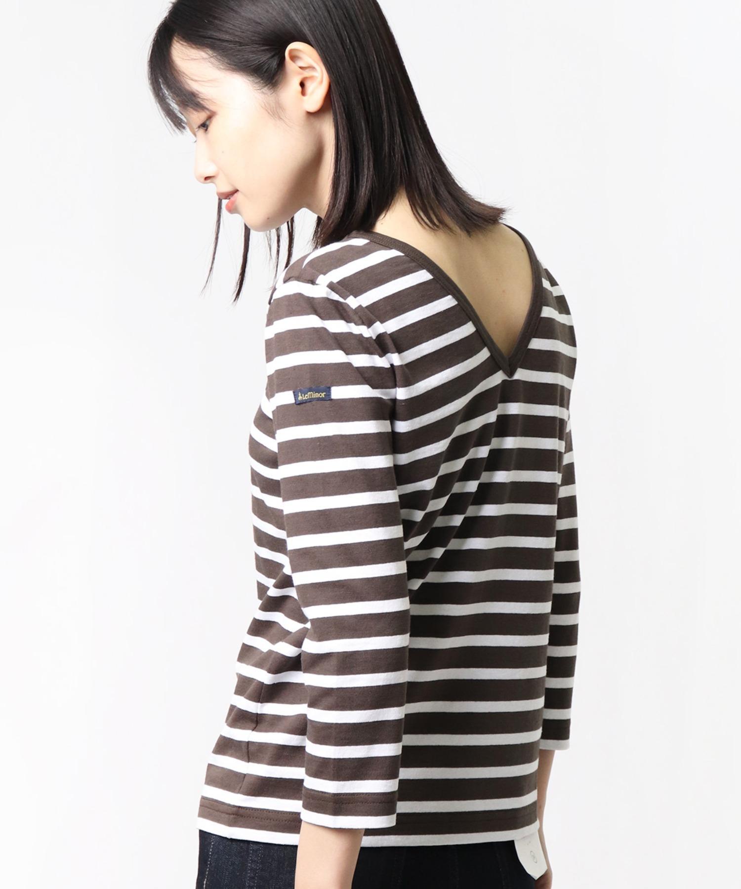 【Le Minor / ルミノア】マドモアゼル 深V バックVネックボーダーTシャツ