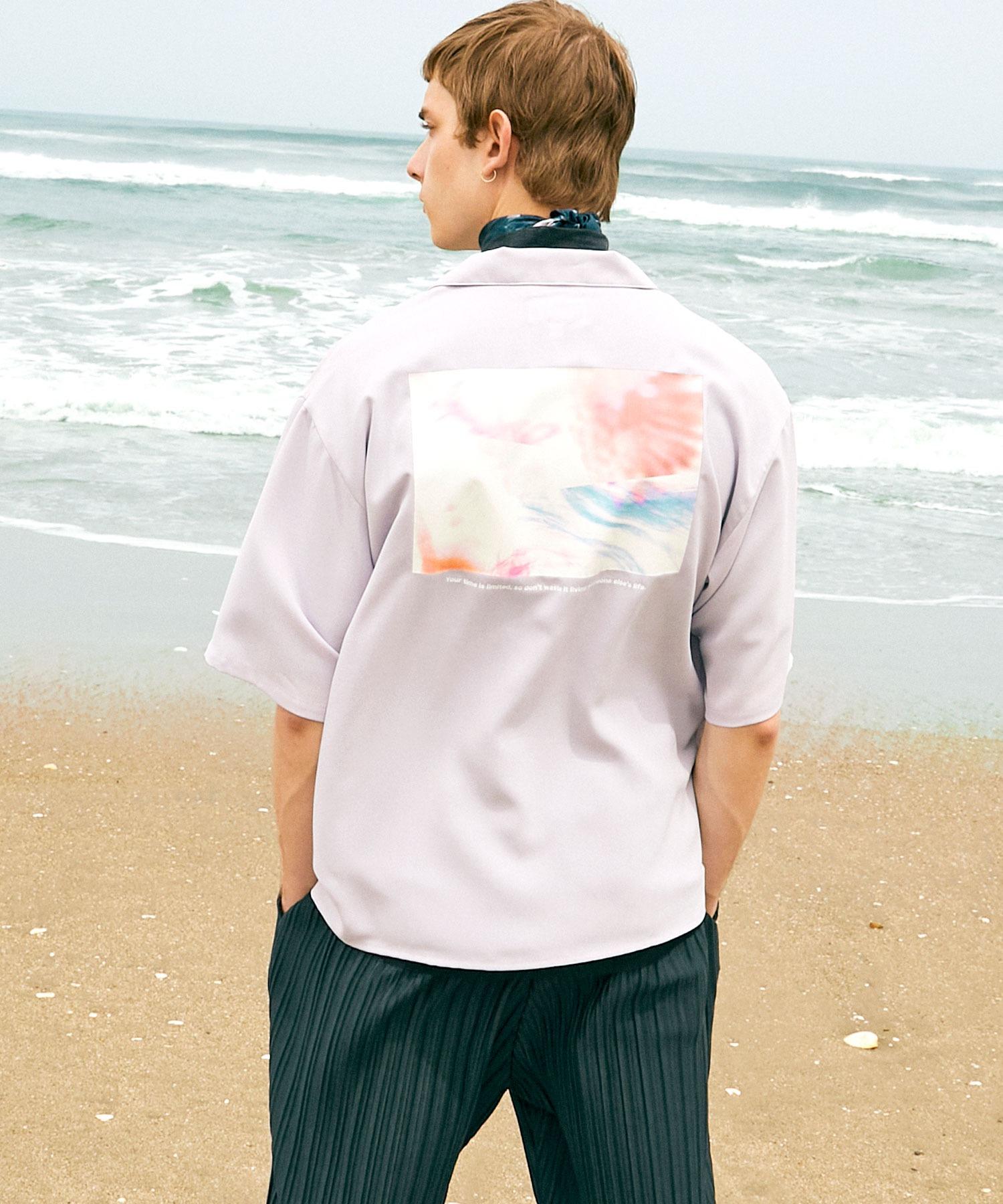 ブライト ポプリン リラックス ドレープ オープンカラー1/2 Sleeveシャツ EMMA CLOTHES 2021 SUMMER
