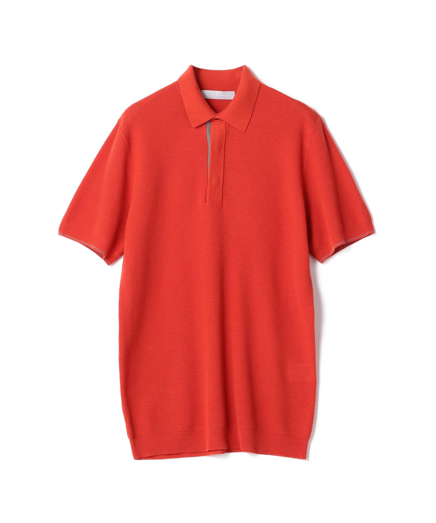 ESTNATION / ウォッシャブル半袖鹿の子ポロシャツ