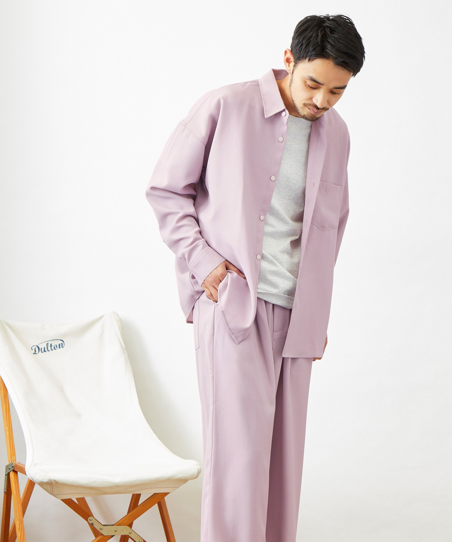 【セットアップ】テックリネン オーバーサイズ L/Sレギュラーカラーシャツ&タックバルーンワイドパンツ