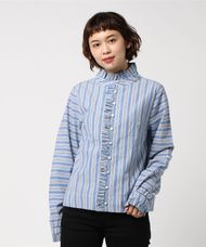 【LOA BY LOA】STRIPPED BLUSE,LONG NECK,FRILL IN PLAQUET